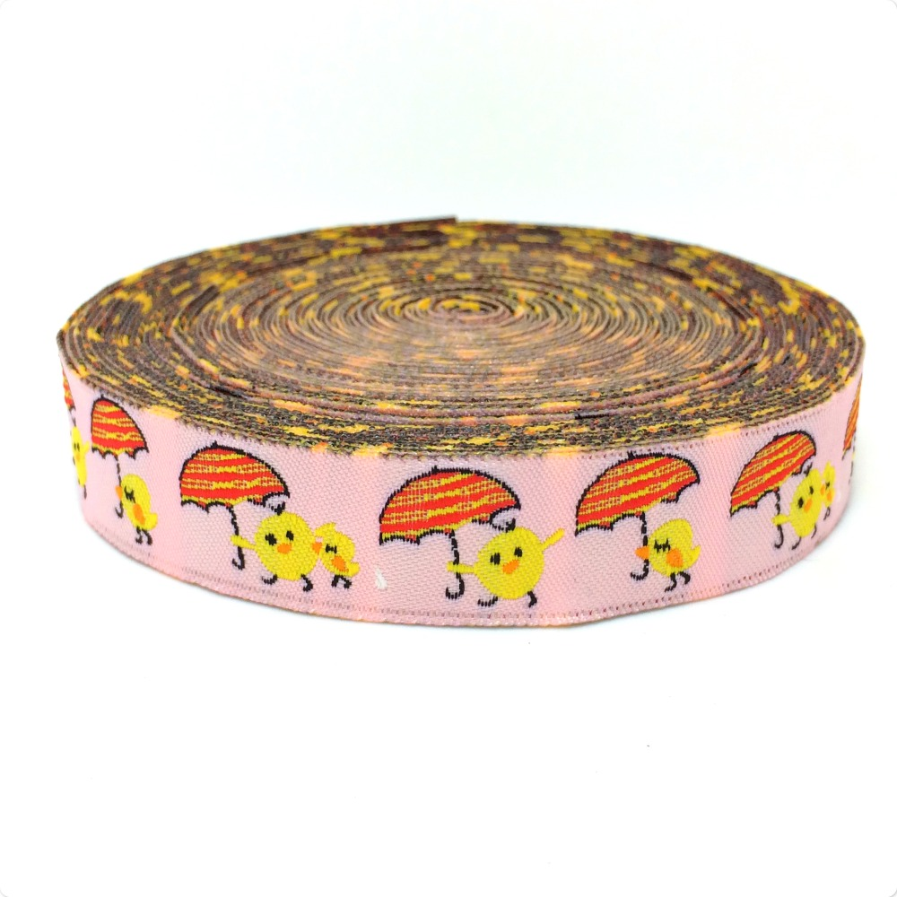 Zakka handmade accessories Jacquard Ribbon 16mm Yellow duck carries an umbrella Cartoon ribbon woven Jacquard Ribbon(China (Mainland))