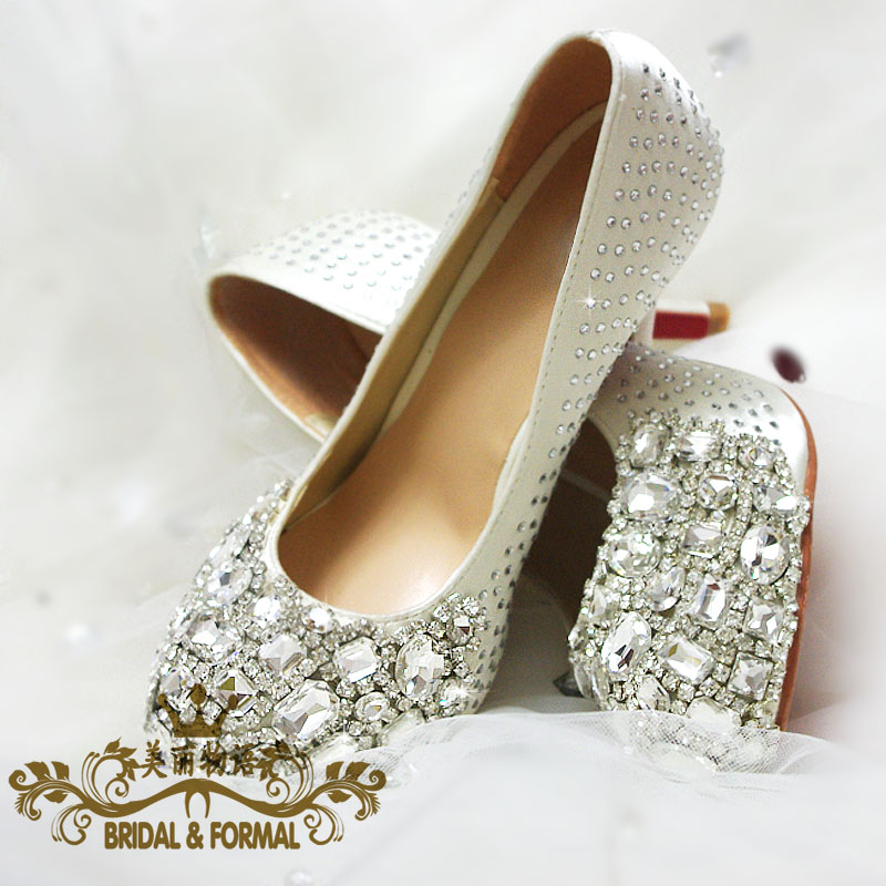 crystal wedding shoes white high heeled bridal shoes bling rhinestone