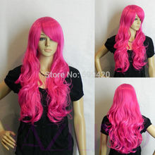FSX59823D@D>women long pink ramp bangs fringe curly wave cosplay hair wig synthetic wig AS
