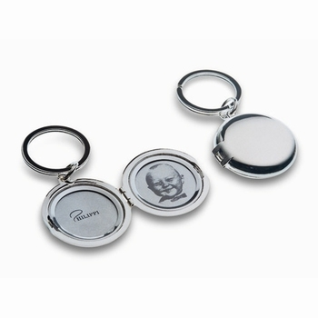 Free shipping couple plating silver polishing round photo frame double faced car key chain lovers fashion key ring birthday gift
