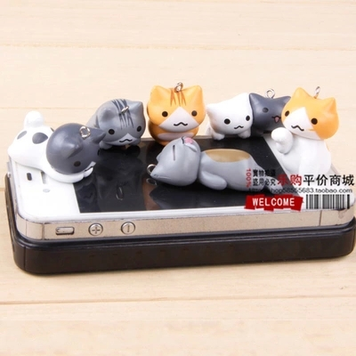 2-4.5cm 6pcs/set PVC Kawaii Super Cute Cheese Cat Kitty Cell Phone Strap Charms mobile chain Strings Strap MPS063(China (Mainland))