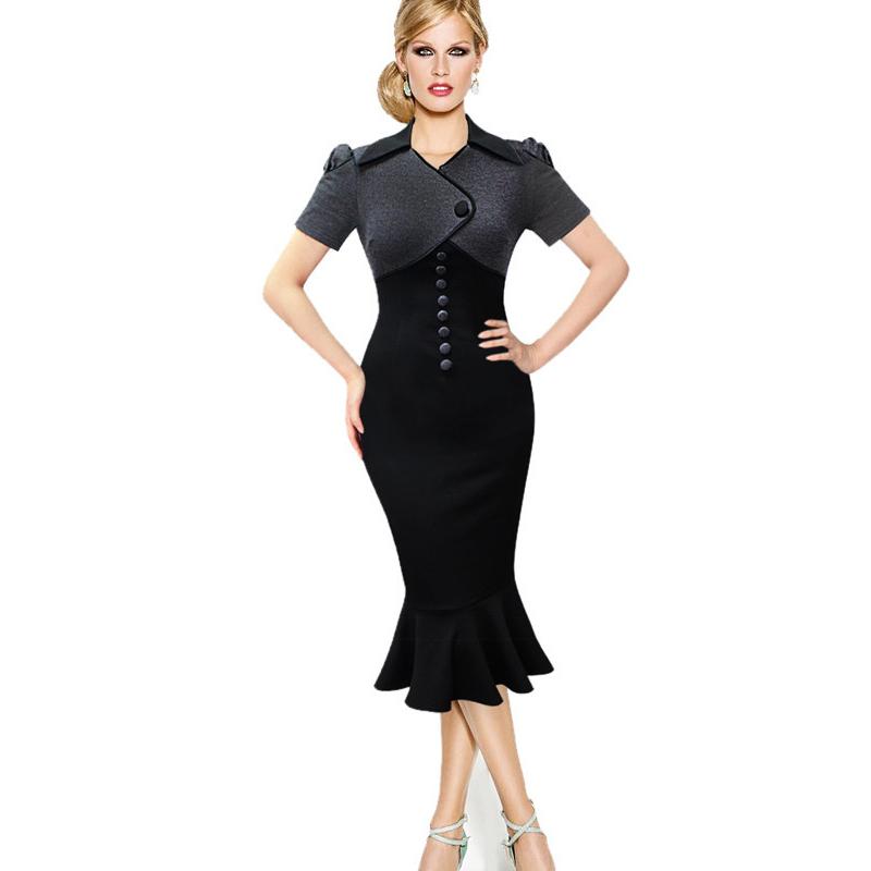 UK 2015 Women Vintage Mermaid black office Dress Summer Elegant Retro Cocktail Party Bodycon pencil dresses plus size Vestidos(China (Mainland))