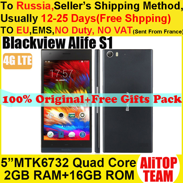 "Original Blackview Alife S1 4G LTE Mobile Cell Phone 5"" HD MTK6732 1.5GHz Quad Core Android 4.4 2GRAM 16GROM 13MP Camera Russian(China (Mainland))"