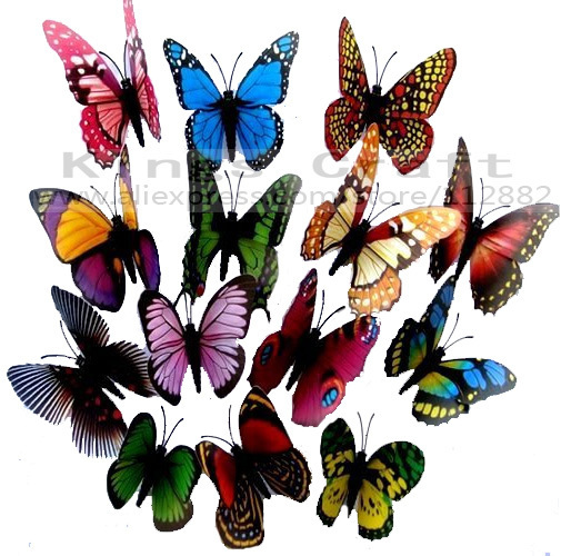 RETAIL PACKING 12CM Big Size 3D Artficial Butterfly,  Fridge Magnet,  Magnet butterflies Free Shipping