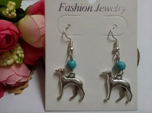Fashion Jewelry Greyhound Dog 10Pair Vintage Silver Turquoise beads Charm Pendants Drape Earrings DIY For Women Jewelry Z280(China (Mainland))