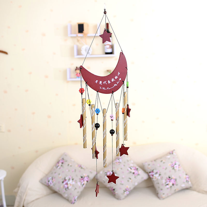 Love Theme vintage home decor Aluminum wind chime Casting stat with moon wedding decoration pakistan/canda/russia Folk Art RT606(China (Mainland))