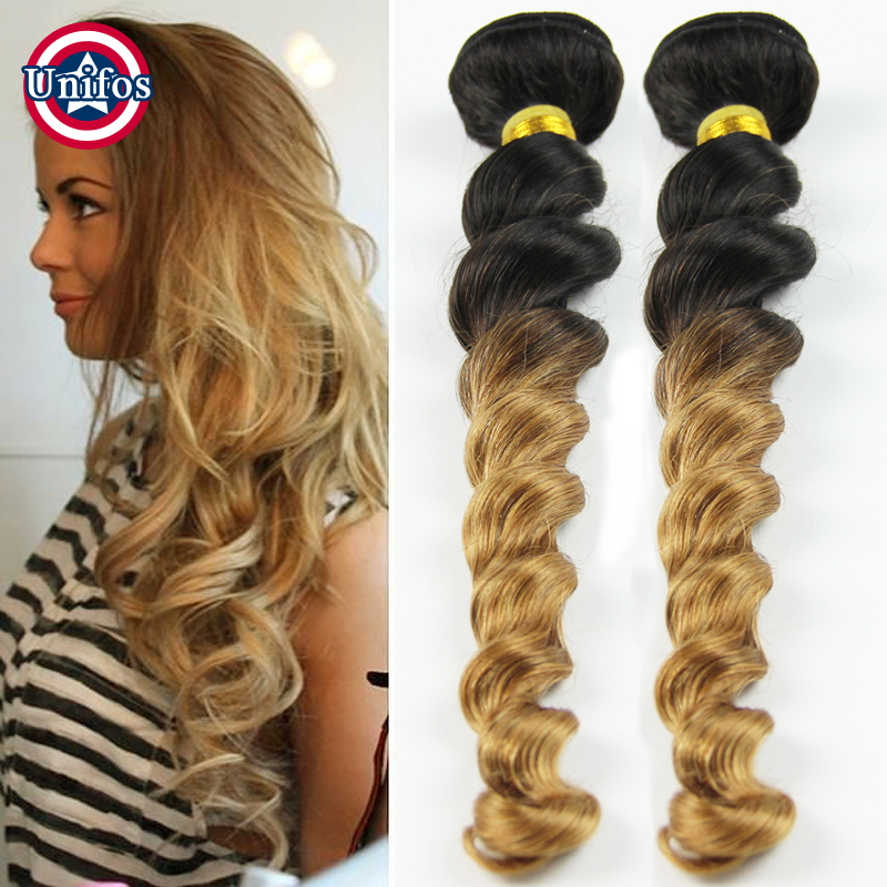 Two Tone Brazilian Weave Hair Blonde Ombre Loose Wave 30 inch Black Extensions Single Bundle