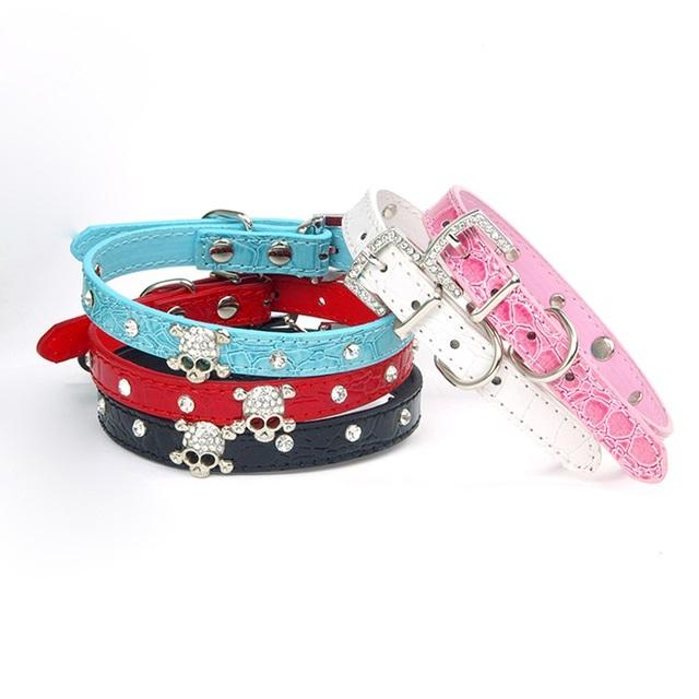 2PCS Skeleton Bling Pet Puppy Collars, PU Leather Skull Head Pet Dog Collar Rhinestone Shining Small Dog Collars
