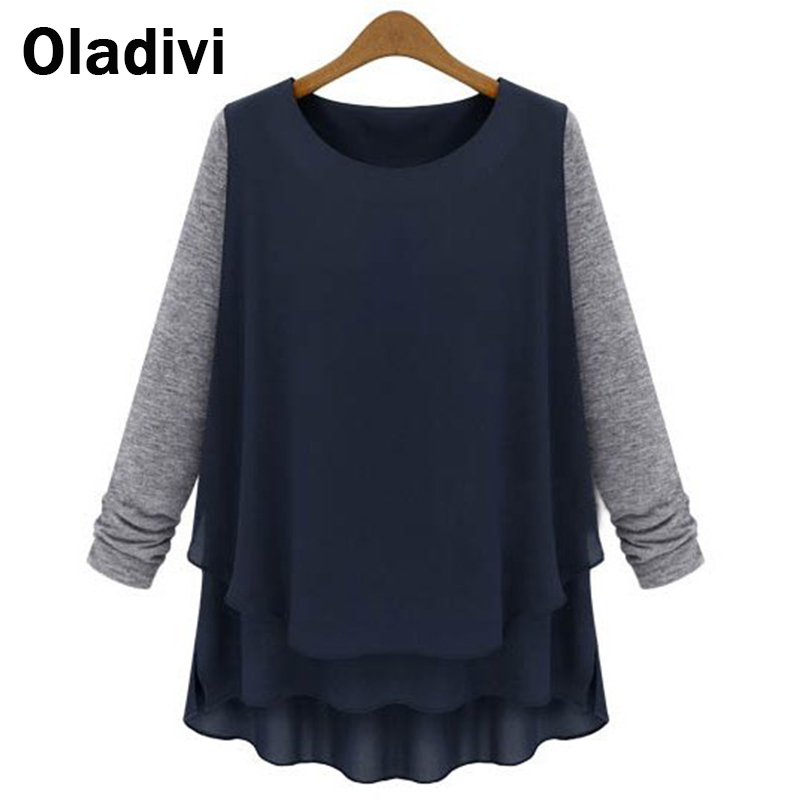 XXXXXL Plus Size Women's Apparels European Style Loose Shirts Long Sleeved Chiffon Cotton Patchwork Blouses Female Tops 2016 New - Oladivi official store