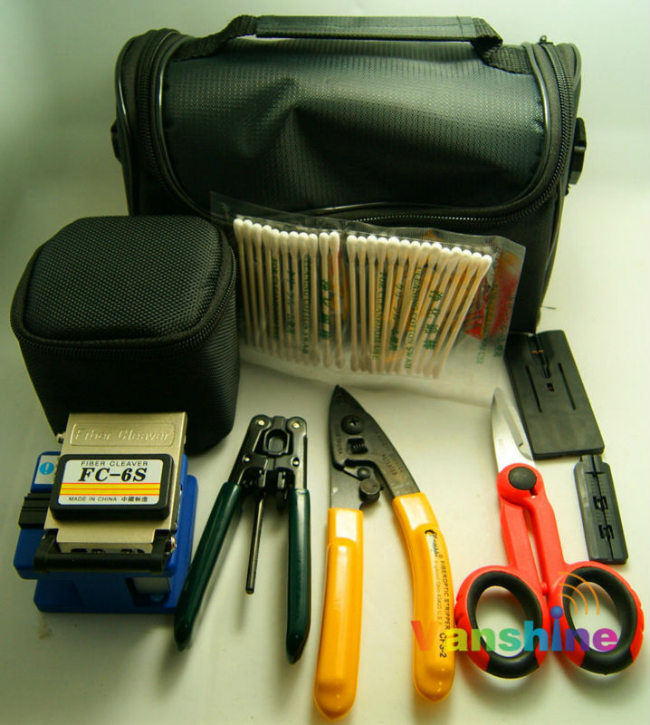 7 In 1 Fiber Optic FTTH Tool Kit FC-6S Fiber Cleaver and Fiber Optic Stripper, Scissors(China (Mainland))
