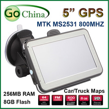 5 inch 256M 8G MTK GPS navigator  800MHz car GPS navigation  FM E-Book, offer free maps . free shipping(China (Mainland))