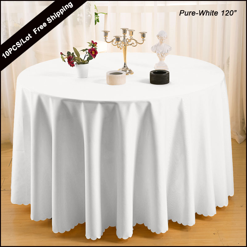 "10PCS/Lot Wedding Tablecloth Best Sale 100% Polyester Modern Design Plain Round 120"" Table Cloth for Hotel Restaurant table(China (Mainland))"