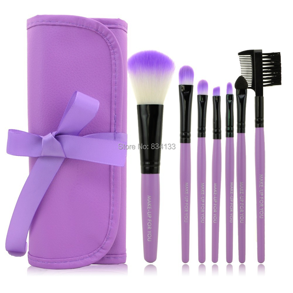 Hot Selling 7 PCS/Set Practice Makeup Brush Set Tools Make-up Toiletry Kits Synthetic Brand Make Up Brush Set Case(China (Mainland))