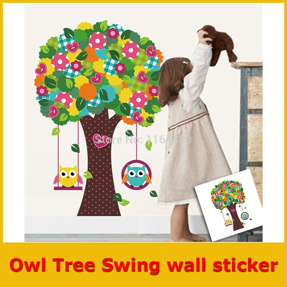 2015 Real Owl Tree Swing Vinyl Decal Pvc Removable Wall Sticker Home Decor Art Mural for Kids Room Kitchen Decoration Poster New(China (Mainland))