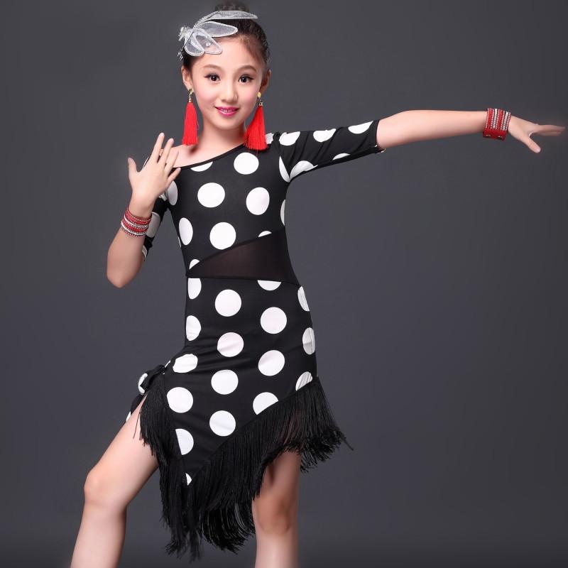 children new black Polka Dot Latin\Rumba\Samba\chacha Dance dress girls red Latin dance practice competition performance Costume(China (Mainland))