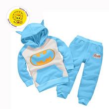 Free shipping winter children s boys clothing suits batman kids set hooded boy pants children sports