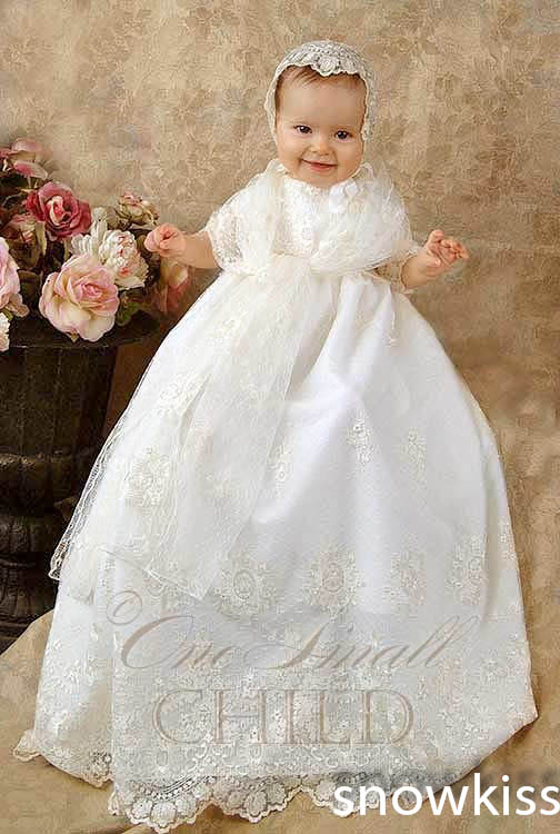 2016 Appliques Lace Baby Girl White/Ivory Ball Gown First Communion Dresses Christening Gown Baptism Dress with bonnet<br><br>Aliexpress
