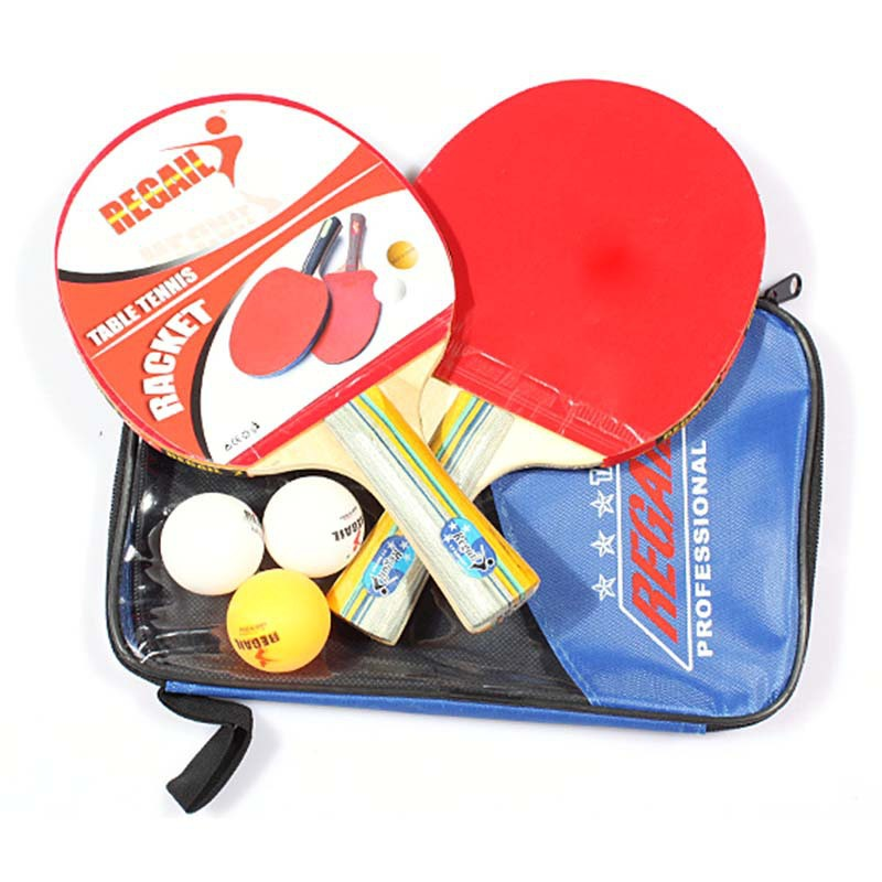 Table Tennis Set 2 Racket + 3 Ball + 1 Racket Pouch Long Handle Shake-hand Pingpong Paddle Balls Sports Accessories(China (Mainland))
