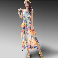 Adogirl Summer Women Sleeveless Floral Print Tank Maxi Dress Sexy Square Collar Vestido Longo Chiffon Long Boho Beach Dresses
