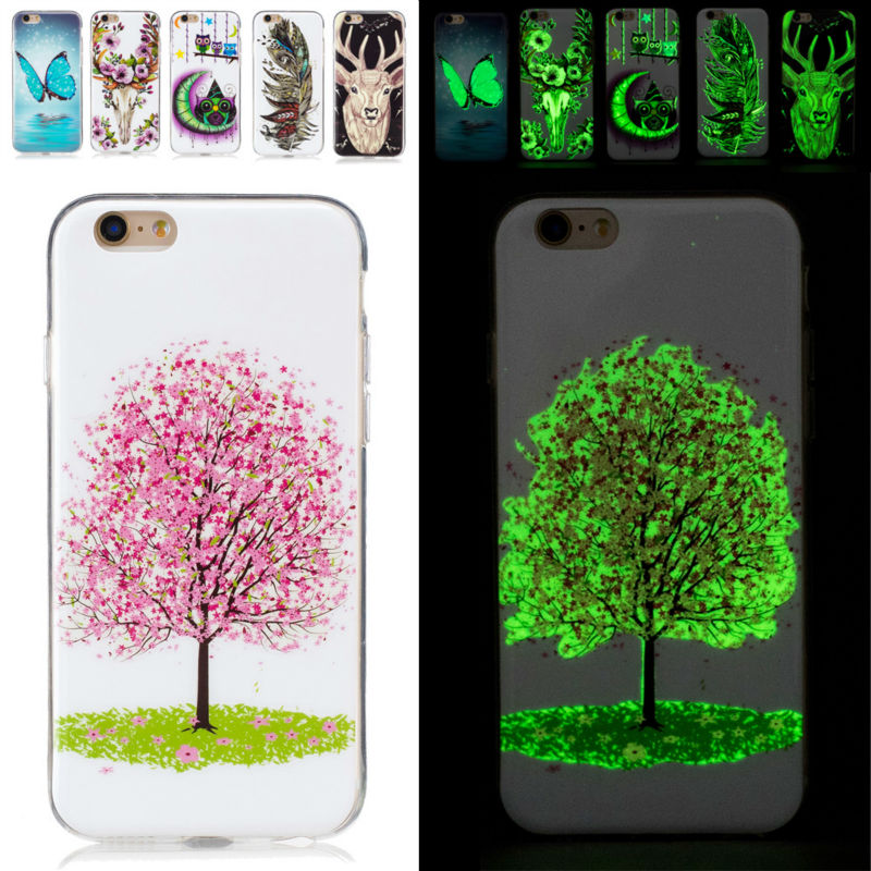Brand New Noctilucent Pattern TPU Soft back Case mobile Phone cases for Apple iPhone 6 7 s 6s 4.7 5.5 inch Plus Cover USA Russia(China (Mainland))