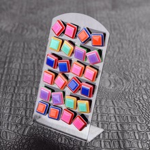 12 pair/pack set big square Multilayer color Candy colors Stud Earrings charm women girl gift earings simple geometry Multicolor - Terrance's store