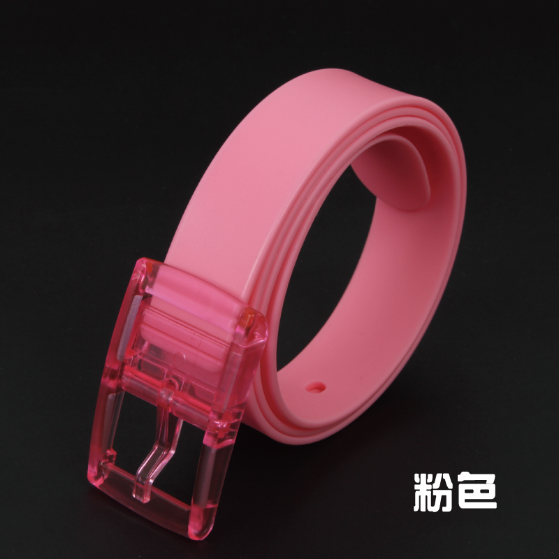 Hot Sale Fashion Siliconebelts candy pink color jelly rubber belt Skull belts for women and men Width 3.5CMmade in china(China (Mainland))