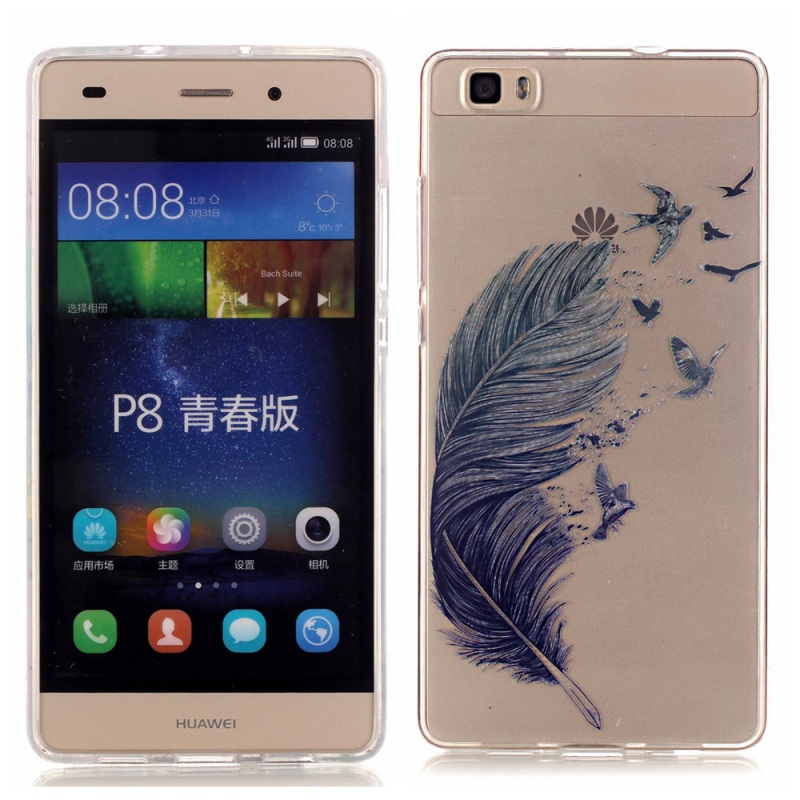 for Huawei Ascend P 8 Lite TPU Cover High Transparent TPU & IMD Skin Case for Huawei Ascend P8 Lite - Feather & Birds(China (Mainland))