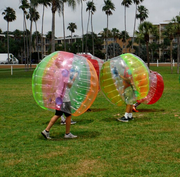 Free shipping! Half color 1.5m 0.8mm PVC 40pcs crazy bubble ball,bubble football,bubble soccer on sale(China (Mainland))