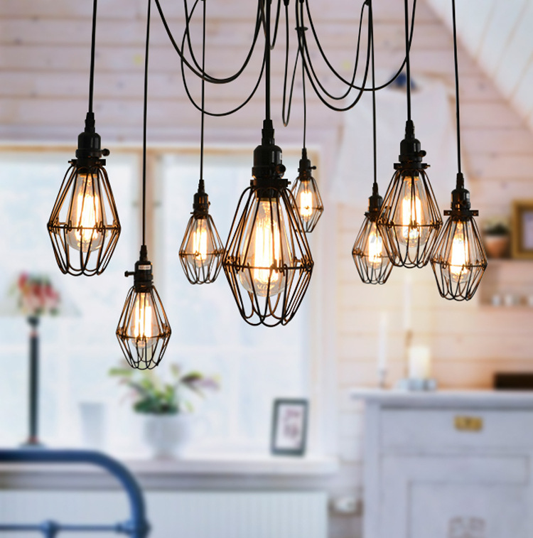 Compare prices on birdcage hanging lamp online shopping for Suspension plusieurs abat jour