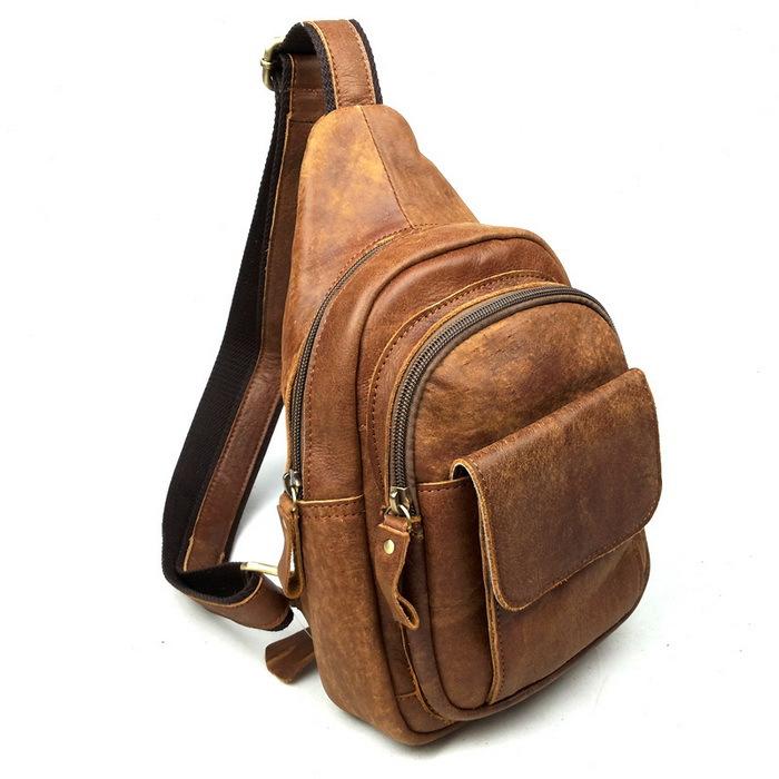 2015 New Cowhide Leather Men Messenger Bags Vintage Bag Men Shoulder Crossbody Bags for Man Small Bag Designer Chest Pack Bolso(China (Mainland))