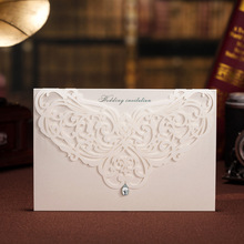 Rhinestone & Laser Cut Flower Classic Style Wedding Invitations Cards