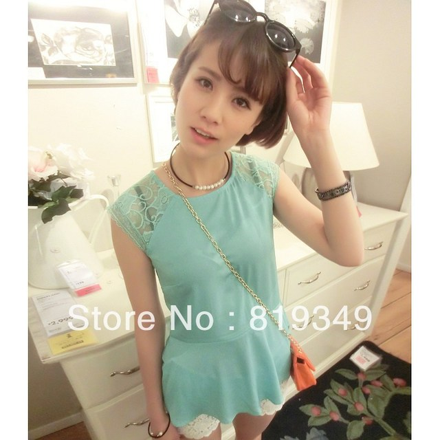 2013 NEW VANCL Women Honourable and Natural Georgina Floral Lace Chiffon Blouse Sleeveless White/Aqua/Black FREE SHIPPING