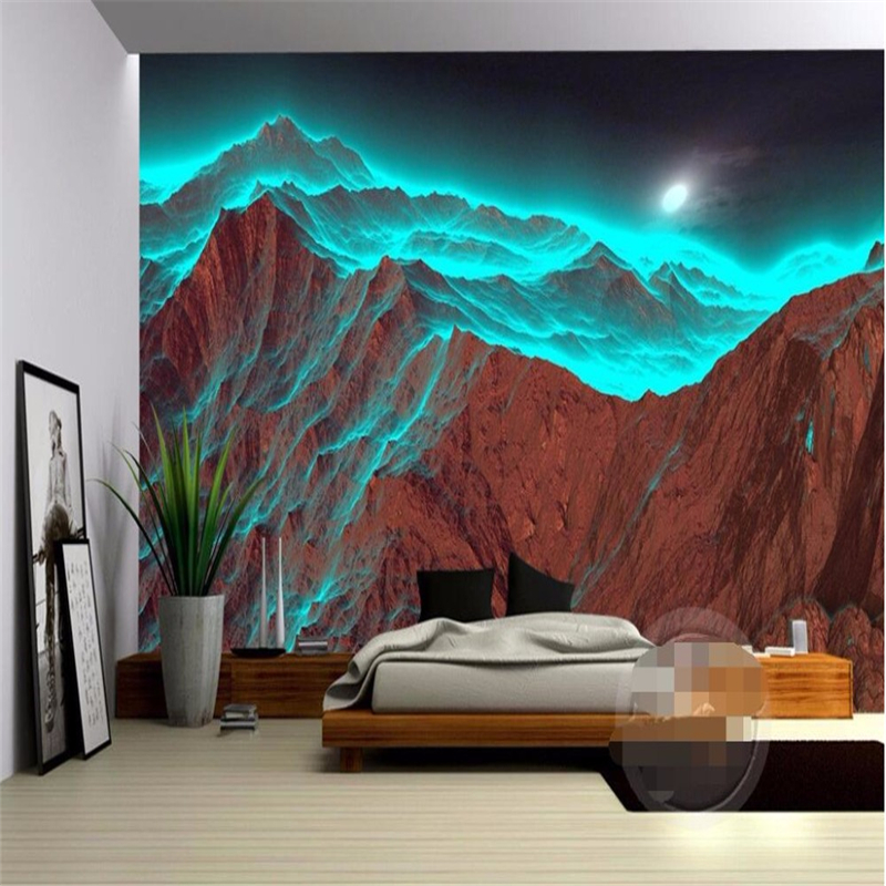 beibehang custom photo mural wallpaper for walls 3 d HD Night mountain irradiation strange green nature 3d large wall paper roll(China (Mainland))