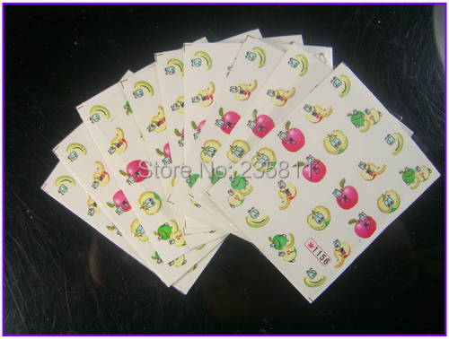 10 PCS / LOT Nail Art Water Transfers Stickers Nail Decals Stickers Water Decal Cake Fruit Food Bow Tie Grape Ice cream Gift