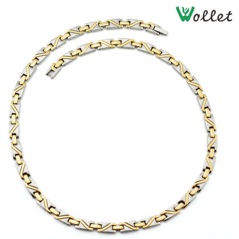 2015 new fashion cool gift for men 3 in 1 infrared health gold filled magnetic solid germanium titanium necklace men(China (Mainland))