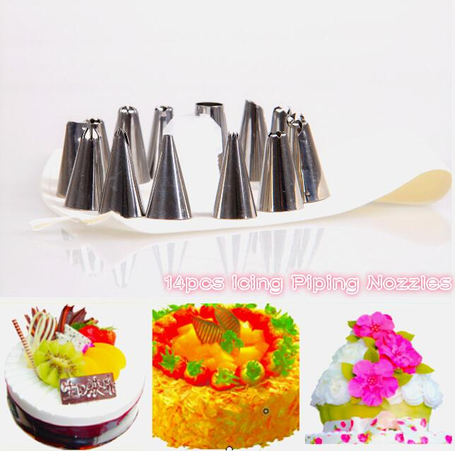 new In stockkitchen dining 14 Pcs Cake Decorator Cookie Press Nozzles Cotton Icing Piping Bag Set cooking tools(China (Mainland))