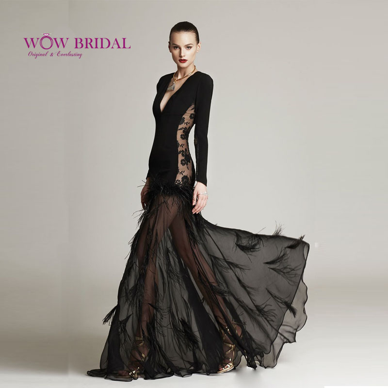 Wowbridal 2015 Elegant Cool Black Evening Gown Deep V-Neck Sheer Skirts Sexy Satin Evening Dresses with Feathers(China (Mainland))