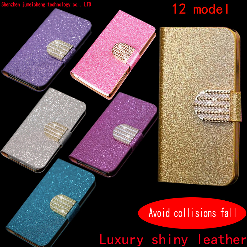 2016 latest fashion luxury Shiny Diamond Flip wallet Case For BBlackberry Z3 Cover With Card Slot Phone Bags(China (Mainland))