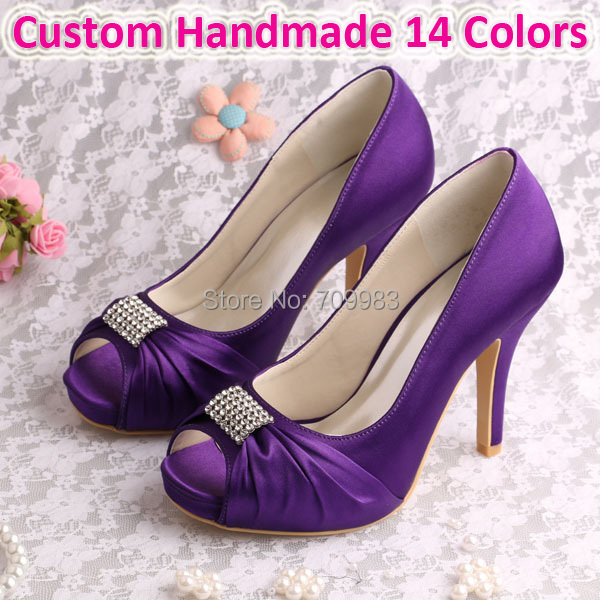 (15 Colors)Dropshipping Bridal Wedding Shoes Purple High Heels Square Toe with Charms Free Shipping<br><br>Aliexpress