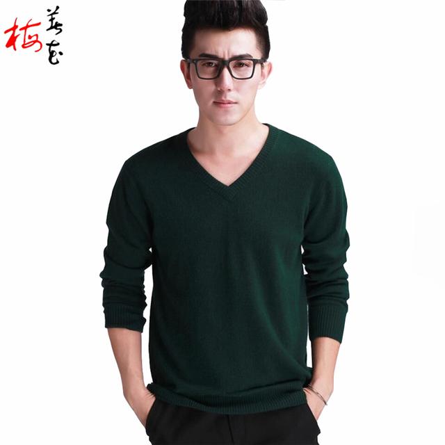 Высокая мода свитера мужчины кашемировый свитер черные мужчины V шеи шерсть мужская ...