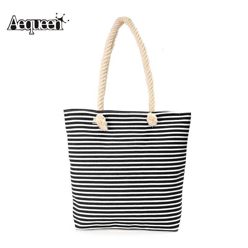Bohemian Womens Handbags Striped Beach Shoulder Bags Brand Designer New Classical Stripe Canvas Bolsa Feminina Casual Tote Rope(China (Mainland))