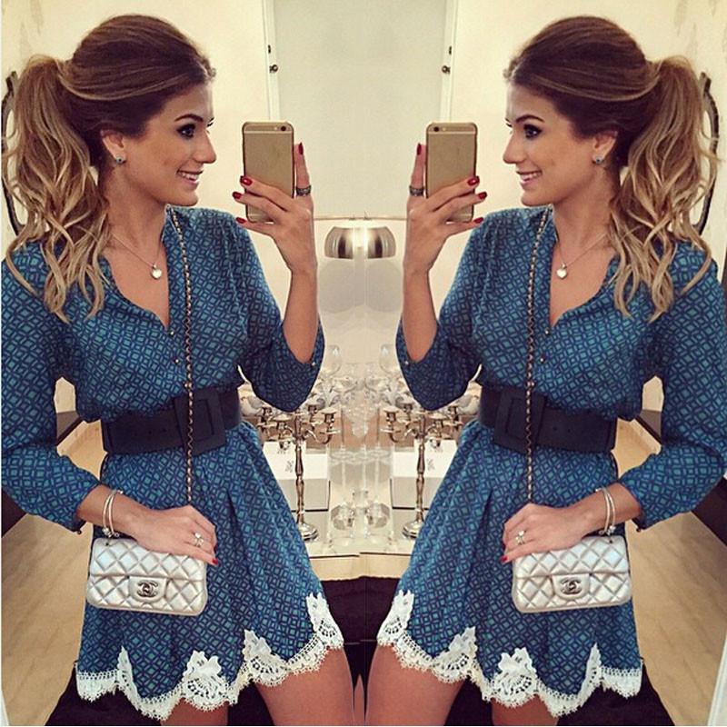 2015 verão e outono novas mulheres moda chiffon xadrez vestido estampado ocasional V - pescoço de mangas compridas rendas patchwork vestidos plus size(China (Mainland))