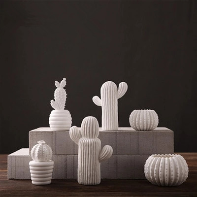 handmade creative ceramic white cactus ornaments living room furnishings modern minimalist ceramic ornaments home decorations(China (Mainland))