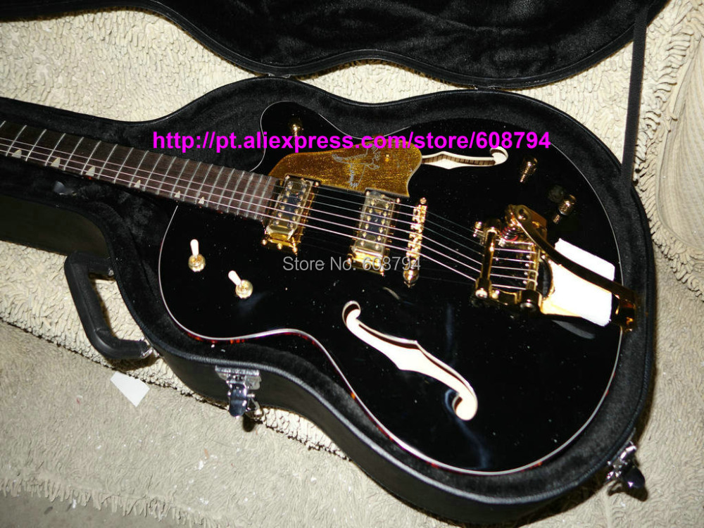 Custom Black falcon6120 Electric Guitar WithBigsby With case hollow body Jazz Guitars Chinese guitar from china Free shipping(China (Mainland))
