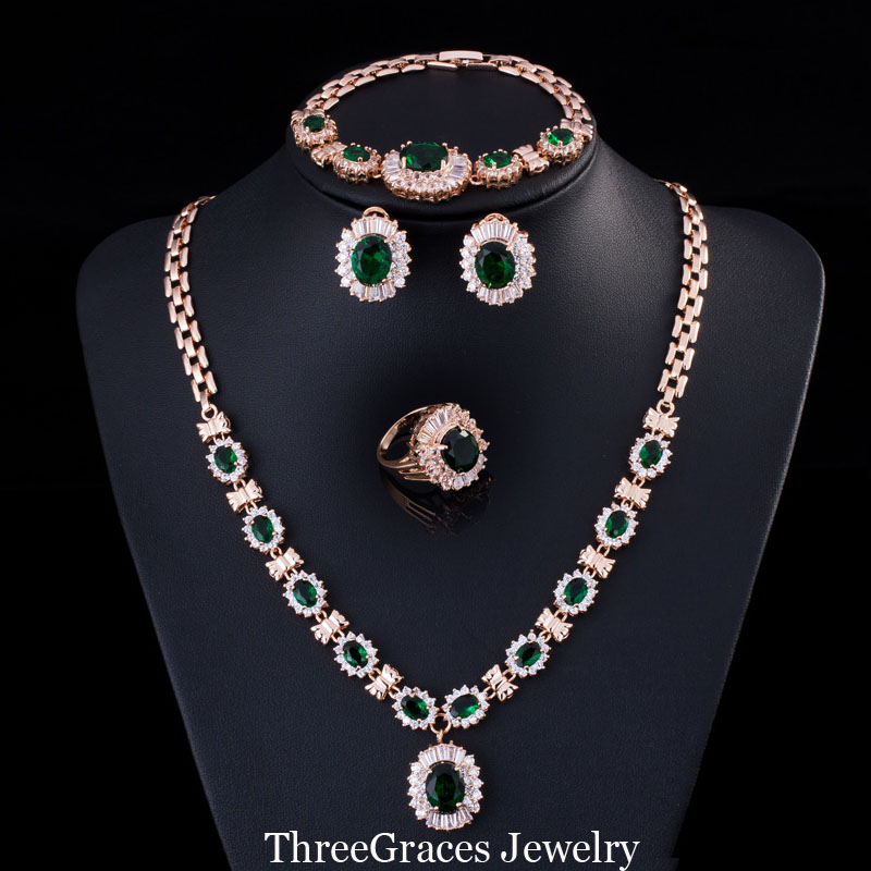 Vintage Emerald Green 18K Gold Plated CZ Diamond Necklace And Earrings Bracelets Ring Evening Party Jewelry Set For Women JS169(China (Mainland))