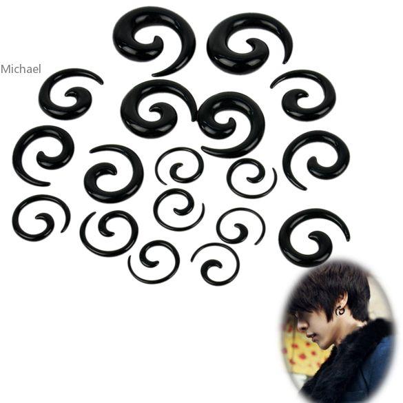 Unisex 18PCS Ear Spiral Tapers False Snail Shape Set/ Lot Black/ White Free Shipping(China (Mainland))