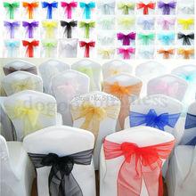 100 PCS 29 colors Chair Cover Sashes Organza Wedding Sash Party Wedding Decorations Bow Free Shipping(China (Mainland))
