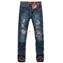 mens jeans brand destroyed hole jeans straight men's robin jeans loose frayed denim true harem jeans men 109(China (Mainland))