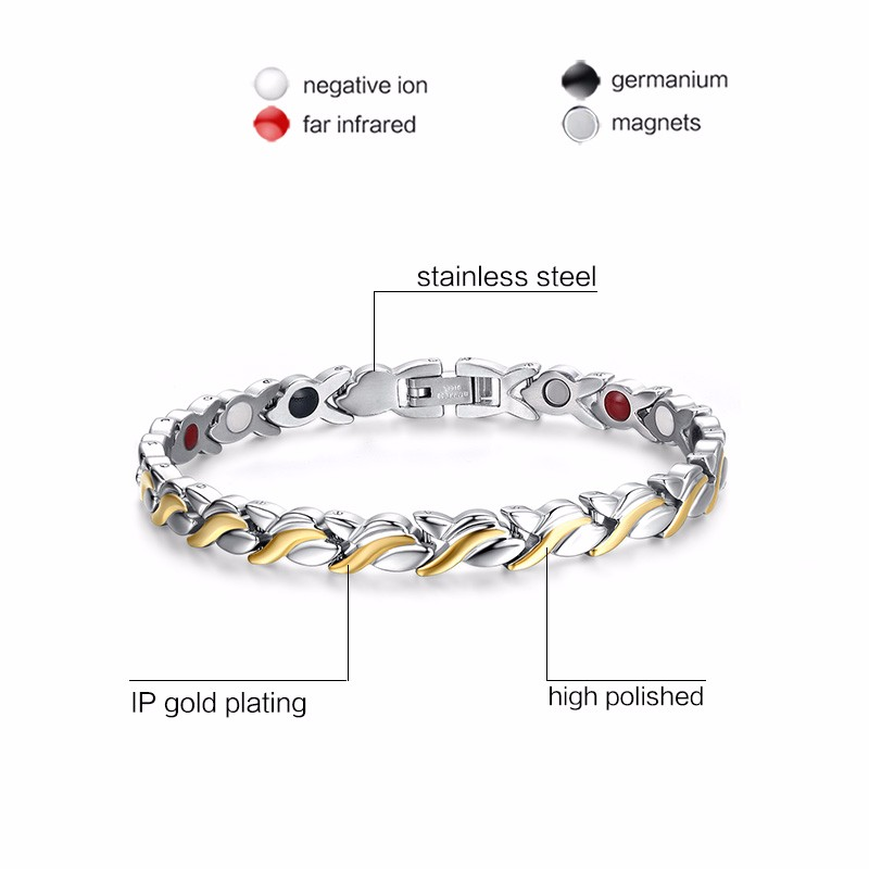 Vnox-Health-Magnetic-Bracelet-For-Women-Stainless-Steel-With-Germanium-Hand-Chain