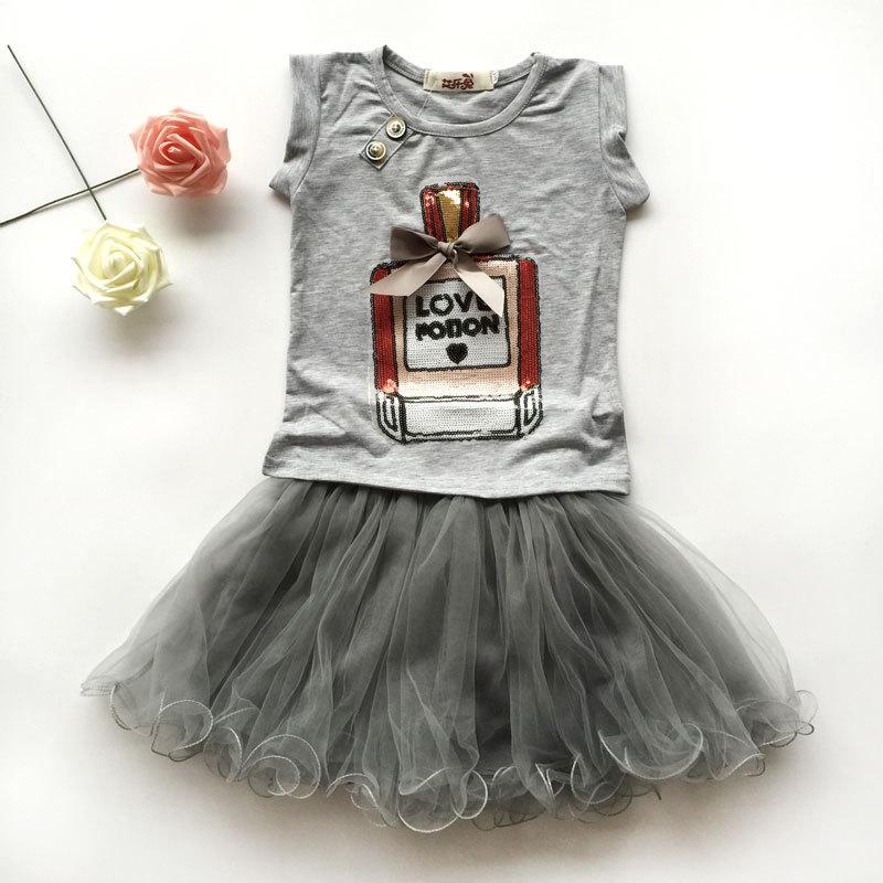2016 summer new girls clothing sets kids bow elegant perfume bottles t-shirt + yarn skirt suits children clothes cotton T-shirt(China (Mainland))